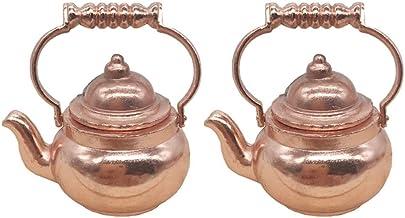 EXCEART 2 szt. 1: 12 miniatura dzbanek do herbaty vintage domek dla lalek dzbanek na herbatę mosiądz mini naczynia meble z...