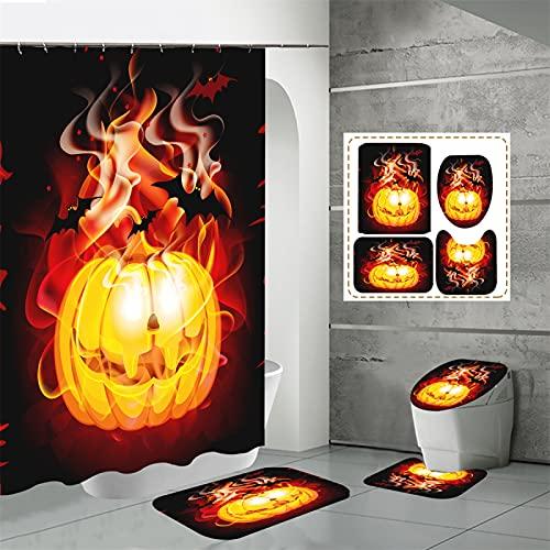 SUUZQK Baño Doméstico Impresión Digital Cortina De Ducha De Poliéster Impermeable Juego De Cuatro Piezas Cortina De Ducha De Halloween 150x180cm(WxH) O