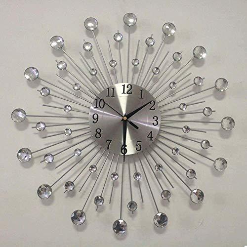 19.7 Pulgadas / 50 cm Diseño Artesanal Diamante Grande Cristal Cristal Cristal SUNBRATT Silver SILEENT Metal Art Wall Reloj