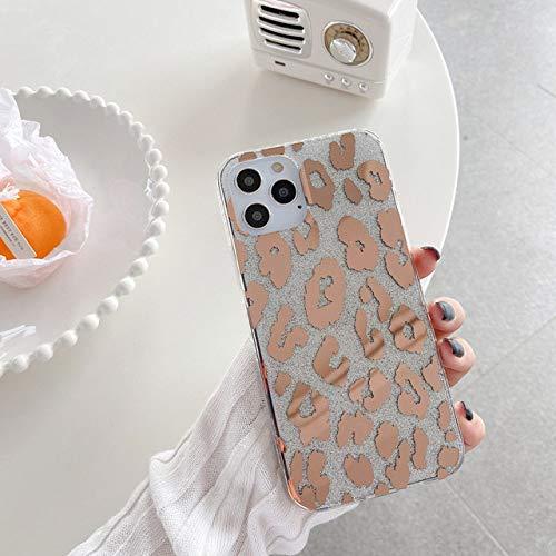 LIUYAWEI Estuche Transparente de Lujo con Purpurina Dorada y Leopardo para iPhon 8 7 Plus X XS 11 Pro MAX XR Carcasa Trasera Transparente para iPhone 12 Pro MAX Coque, 2, para iPhone 8