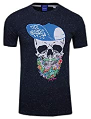 Jack & Jones - Camiseta de manga corta para hombre, diseño de calavera con flores
