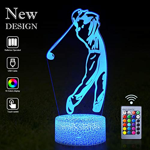 Golf Night Light 3D Mood LED Lamps Remote Control with 16 Colors Flashing Table Lights Sleeping Aid Bedroom Decoration Night Guidance Best Gifts for Golf Lovers Kids Boys Girls Teen(Golf(Remote))