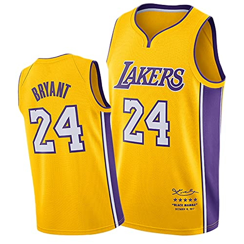 Kobe Bryant 24# Los Angeles Lakers Basketball Trikots Männer, Schwarz Mamba Signature Fan Memorial Edition Mesh Atmungsaktiv Gestickte Jersey Yellow-L