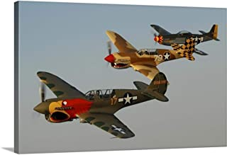 GREATBIGCANVAS Gallery-Wrapped Canvas Two P-40 Warhawks and a P-51D Mustang Flying Over Chino, California by Phil Wallick 18
