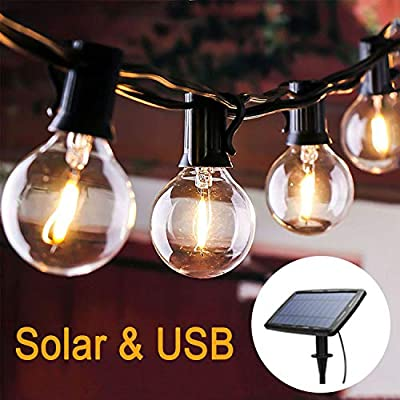 Afirst Solar Outdoor String Lights USB Rechargeable 4 Lighting Modes Dimmable LED Waterproof Patio Lights 25Ft with 25 Bulbs for Party Wedding Backyard Deck Market Indoor Lighting