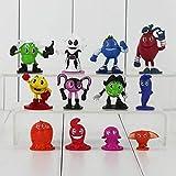 zdfgv 12 unids/Set Pacman Pixels PVC Figuras de acción Juguetes muñecas Pac-Man Figuras de Animales Modelos coleccionables para niños 2-5,5 cm