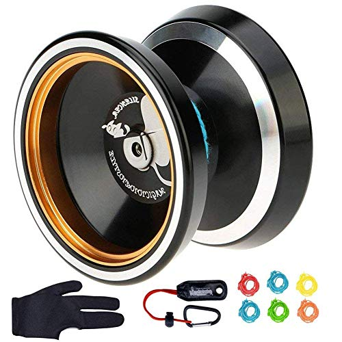 MAGICYOYO M001 Silencer Yo-yo Ball Aluminum 6061 Unresponsive Yo-yo with Stainless Center Bearing and Stainless Axle, M001 Black Yoyo with Yoyo Holster, Yoyo Glove, 6 Replacement Yoyo Strings
