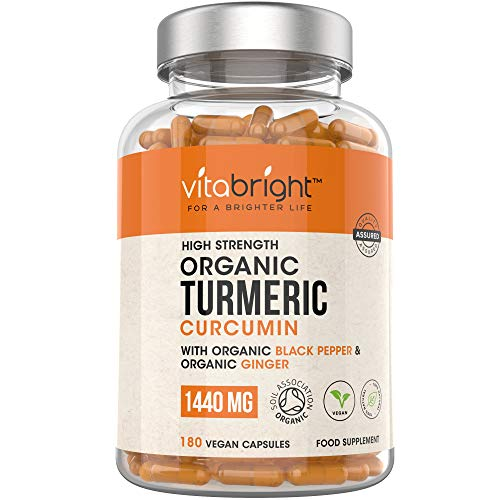 Organic Turmeric Curcumin 1440mg with Black Pepper & Ginger - 180 Vegan Turmeric Capsules - 3 Month Supply - Max Absorption Formula - Certified Organic, Made in The UK