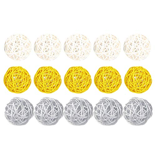 EXCEART 15pcs Rattan Wicker Balls DIY Vase Bowl Filler Ornaments Aroma Dffuser Balls for Wedding Home Hanging Decoration Table Confetti 5cm (White Yellow Silver)