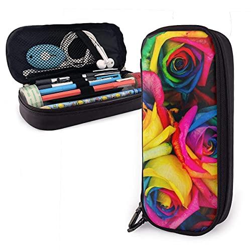 QQIAEJIA Estuche para lápices de rosas de colores Estuche para bolígrafos con caja de soporte de doble cremallera para adolescentes, niñas, niños, escuela, adultos, personalización personalizada Est