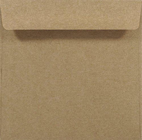 100 Sand-Braun quadratische Kraftpapier-Umschläge, 155x155 mm, gerade Klappe, ohne Fenster, ÖKO, ECO Vintage natur-braune recycelte Briefumschläge ideal für Hochzeit, Weihnachten, Einladungen