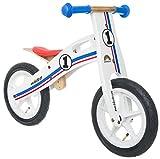 Bikestar Vélo Draisienne Enfants en Bois pour Garcons et Filles DE 3-4 Ans  Vélo sans pédales évolutive 12 Pouces  Blanc Bleu Rouge Tricolore