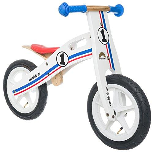 BIKESTAR Bicicletta Senza Pedali in Legno 3 - 4 Anni per Bambino et Bambina  Bici Senza Pedali Bambini 12 Pollici  Bianco Azzurro Rosso