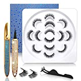 Updated Magic Eyeliner With No Magnetic Lashes Kit, 2 Waterproof Eye Liner & 7 Pairs Natural Looking False Eyelashes Kit - 100% Hand-made & 3D Reusable Eyelash