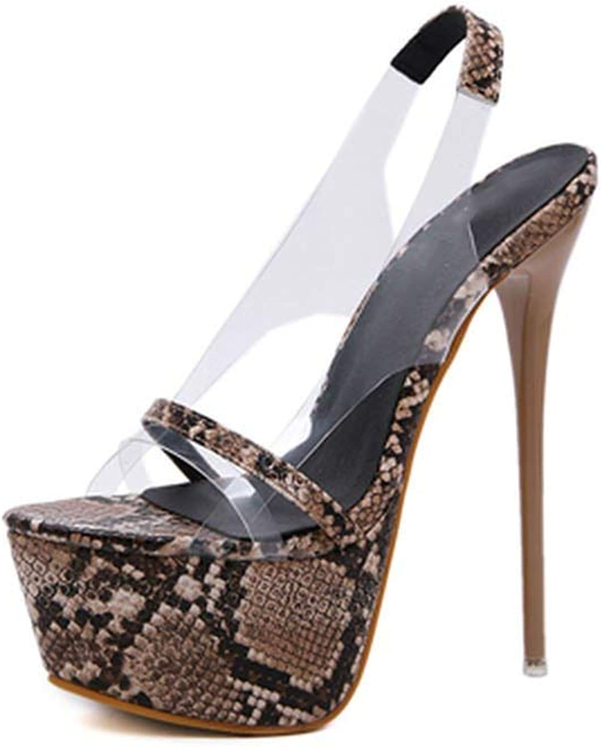 Lewis Pitman High Heel Sandals 17Cm Thin Heel Platform Sandals Sexy Transparent PVC Women Heels Party shoes