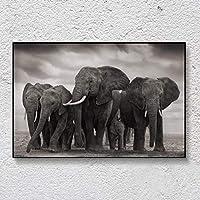 キャンバス絵画ブラックアフリカ象野生動物ポスターとプリントスカンジナビア壁アート写真リビングルームの家の装飾-70x100cmフレームなし