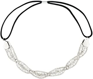 Lux Accessories Floral Crystal Pave Queen Bridal Bridesmaid Flower Girl Stretch Headband
