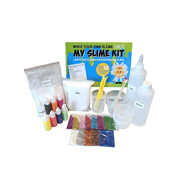 Make Your Own Slime! Kit W/ Containers & Lids, Clay, Foam Beads, Glue, Glitter Powders with Accessories! Recipes for Making Color and Different Types of Slime How to Make Slime Recipes Included 3