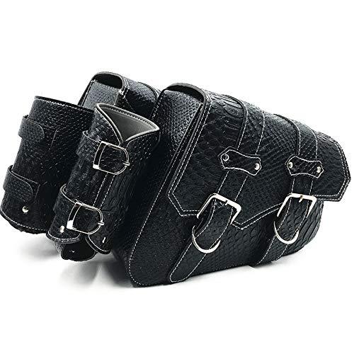 Motorcycle PU Crocodile Leather Saddle Bags Luggage Left+Right Side Tool Bag For Yamaha Honda Harley Sportster XL 883 XL1200