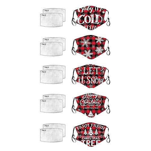 5pcs Merry Christmas Men Women Reuse Face_mask with Filter Pocket, Let It Snow Cold Happy New Year Fram Fresh Tree Plaid Washable Cloth Face Protective Coverings, Breathable (5pc+10filters)