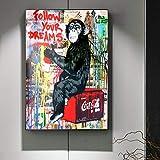 SQSHBBC Modern Street Art Pinturas sobre Lienzo SIGA Sus sueños Graffiti Art Lienzo Carteles e Impresiones Arte de la Pared Imágenes Decoración del hogar 50x75cm sin Marco