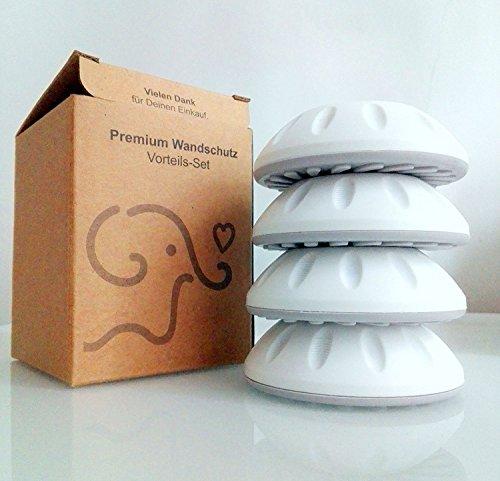 Kleiner Elefant 4er Set Wandschutz für Treppengitter. Ohne Werkzeug, kein Bohren. Für Klemm-Füße mit Durchmesser bis 4cm