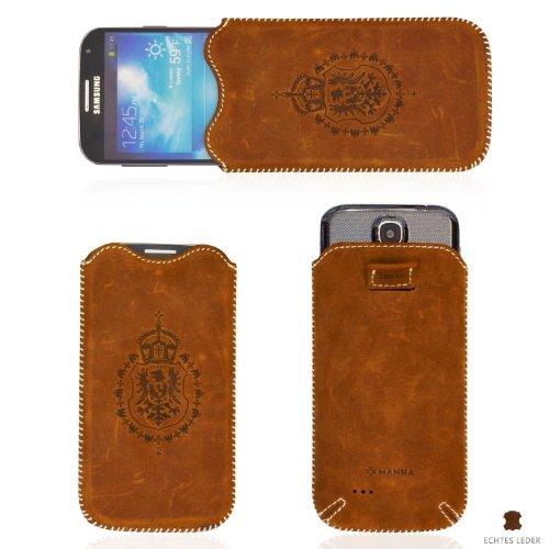 MANNA Universal Hülle Etui Tasche | Echtes Wildleder, braun 'Western' | Für Smartphones bis 4,7