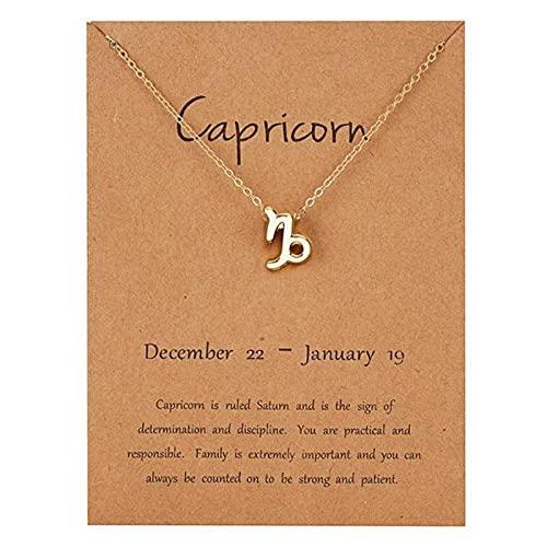 PangTuZiYin 12 Horóscopo Signo del Zodiaco Collar con Colgante de Oro Aries Leo 12 Constelaciones Joyería Leo Acuario Escorpio Capricornio