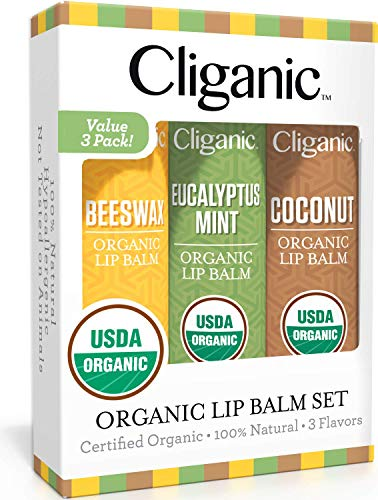 Cliganic USDA Organic Lip Balm Set - 3 Assorted Flavors - 100% Natural Lip Butter Chapstick for Cracked & Dry Lips