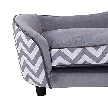Pawhut Canapé Chien Chat sur Pied Style Graphique Contemporain Coussin Amovible Lavable Grand Confort + Pochette Rangement 67L x 41l x 36H cm Gris Blanc