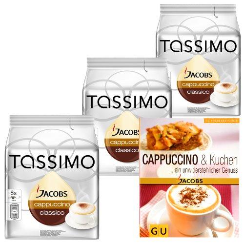 Tassimo Cappuccino Geschenkset für Weihnachten: 3 x 16 Cappuccino T-Discs + Gratis Küchenratgeber
