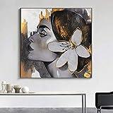 hllhpc (No Frame) RELIABLI Arte Sexy Chica Carteles de Flores imágenes Pop Art Abstracto Lienzo Moderno Pintura Sexo Mujeres Arte para Pared portarretrato para habitación