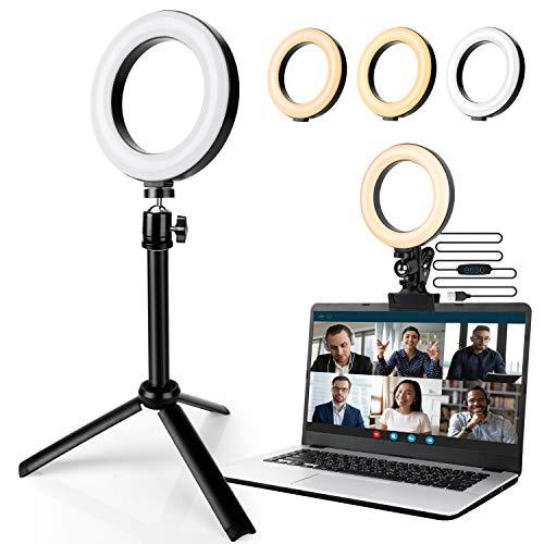 DUOUPA Videokonferenz Beleuchtungsset 6'' LED Ringlicht mit Stativ und Clip Einstellbare Farbtemperatur und Helligkeit für Fernarbeit/Fernunterricht/Make Up/YouTube/TikTok/Fotografie/Tischlampe