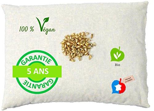 La Cocarde Verte - Oreiller épeautre Bio - Oreiller Coton Bio et balles végétales Bio Anti Mal de Dos - Fabrication française Garantie 5 Ans - Écru Naturel