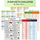 21 Day Keto Challenge Pack with Meal Plan| Keto Cheat Sheets for Beginners Big Size 8'x11' Laminated |Ketogenic Diet 120 Food List Quick Guide Reference Charts for Weight Loss|Keto Recipes & Cookbook