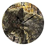 Reloj de pared con diseño de lobo de imitación en negro, diseño redondo, sin tacón