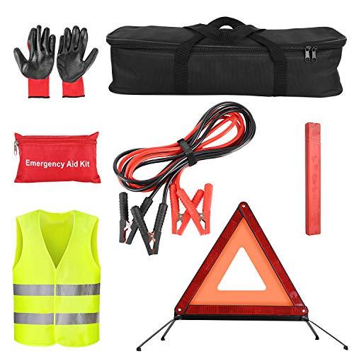 femor Auto Erste Hilfe Set mit Gummihandschuhe, Weste, Schleifstativ, Autobatteriekabel und Medizinisches Paket usw.