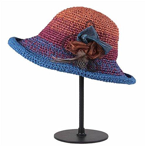 LTH-GD Gorra de Invierno y Sombrero Sombrero de señora en Verano a lo Largo de la Sombra Sombrero de Paja Sombrero de Paja de Papel Señora Sombrero (Color : Blue)