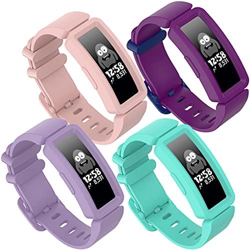 Pheant Cinturino di ricambio compatibile con Fitbit Ace 2 per bambini, in morbido silicone, per Fitbit Inspire HR, sportivo, per ragazzi e ragazze, colore: rosa
