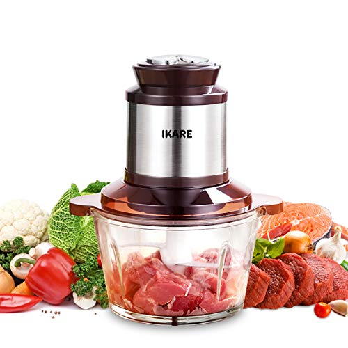 Electric food chooper, food processor, meat processor, Autogen High Capacity 8-cup 2L BPA-Free Glass Bowl Grinder for Meat, Vegetables, Fruits and Nuts, Stainless Steel Motor Unit and 4 Sharp Blades