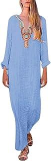 Women's Printed Long Sleeve V-neck Maxi Dress Split Hem Baggy Kaftan Long Dress