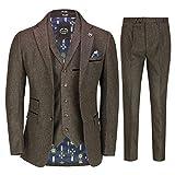 Azul Marrón Tweed 3 Piezas Traje De Los Hombres Retros De 1920 Peaky Anteojeras Elegante A Medida [SUIT-CALVIN-BROWN-44UK]