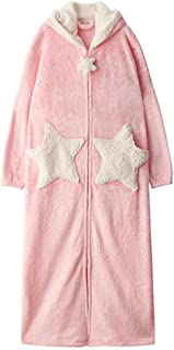 DEATU Winter Robes with Hood Women Warm Bathrobes Loungewear Pajamas Long Sleeve Zipper Thick Nightgowns with Pockets