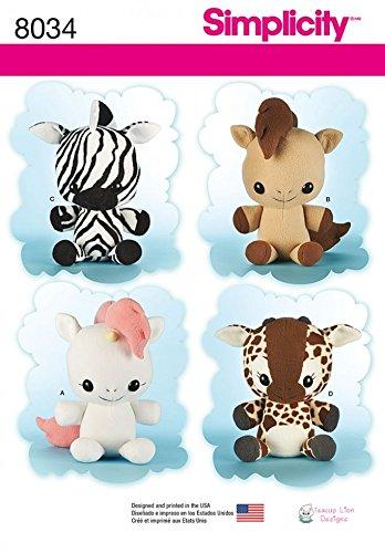 Simplicity Crafts Schnittmuster 8034 Giraffe, Zebra, Einhorn und Pony, Stofftiere