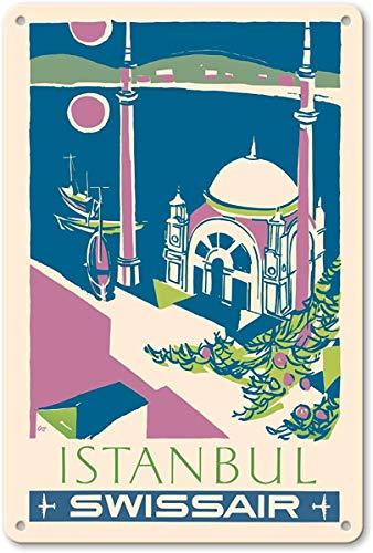 Istanbul, Turkey - Swissair - Ortak?y Mosque by Henri OTT Metall Poster Wand rostfrei Aluminium wetterfest Dekor Home Wall Art Decor Retro Vintage Blechschild 12 x 8 Zoll