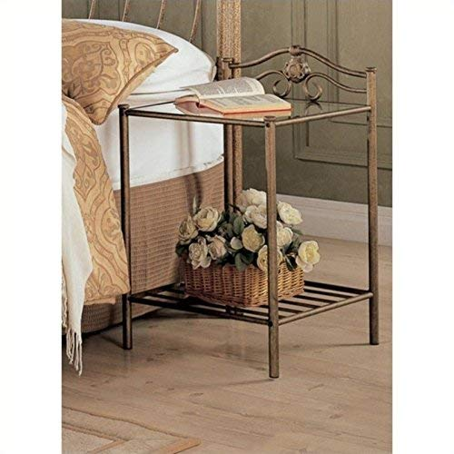 Coaster Home Furnishings CO- Sydney Metal Nightstand, Antique Brushed Gold