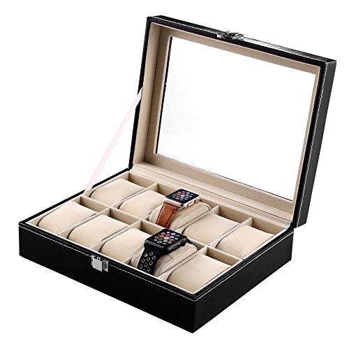 Mbuynow Uhrenbox 10 Uhren Uhrenkoffer Herren Uhrenbox Damen Uhrenkasten Herren Uhrenvitrine abschließbar für 10 Uhren aus kunstleather