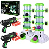 Shooting Targets with 2 Foam Dart Toy Gun, Glow in The Dark, Fun Target Practice Games, Xmas Birthday Gifts for Age of 6 7 8 9 10+ Years Old Kids Boys Girls, 24 Darts, 4 Balls, for Nerf Guns Blaster