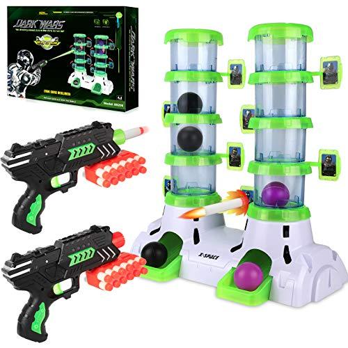 Shooting Targets with 2 Foam Dart Toy Gun, Glow in The Dark, Fun Target Practice Games, Xmas Birthday Gifts for Age of 6 7 8 9 10+ Years Old Kids Boys Girls, 24 Darts, 4 Balls, for Nerf Guns Blaster