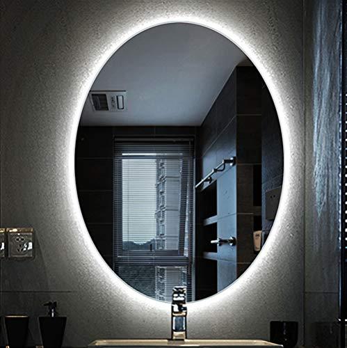 DELM Specchio da Parete 60x80 Ovale, Specchio da Bagno con LED Illuminato, Grande Specchio per...